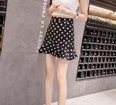 黑色波點裙半身裙夏女新款半裙包臀裙一步裙子高腰短裙魚尾裙