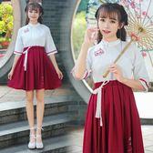2018新款夏季漢服女日常改良漢元素短袖短裙文藝古裝民族風套裝