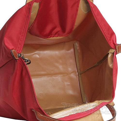 LONGCHAMP經典短提把中型尼龍摺疊水餃包(紅色)480101-13