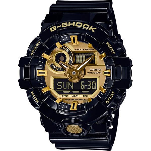 CASIO 卡西歐 G-SHOCK 人氣經典黑金雙顯手錶 GA-710GB-1ADR / GA-710GB-1A