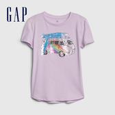 Gap女童 閃亮風格圖案短袖T恤 577837-淺丁香紫