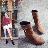 中筒靴 短靴女平底內增高靴子秋冬女鞋馬丁靴女英倫風休閒短筒靴   9號潮人館
