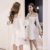 中大尺碼 小黑裙秋裝女新款喇叭袖氣質年會禮服裙一字肩蓬蓬連身裙 js18102【黑色妹妹】
