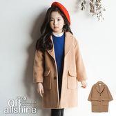 女童外套 卡其小羊绒毛呢長版大衣 韓國外貿中大童 QB allshine