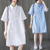 洋裝 中大尺碼 2021夏季新款中長款大碼女裝文藝連身裙遮肚顯瘦POLO領韓版襯衫裙