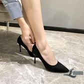 黑色高跟鞋細跟職業百搭尖頭正裝工作鞋女鞋子【邻家小鎮】