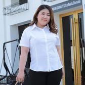 大尺碼襯衫200斤大尺碼女裝雪紡白襯衫女胖mm夏季彈力短袖襯衣大尺碼職業裝(七夕禮物)