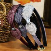 髮飾布藝蕾絲頭箍蝴蝶結髮箍正韓簡約寬邊防滑帶齒水鑽髮卡頭飾品 中元節禮物