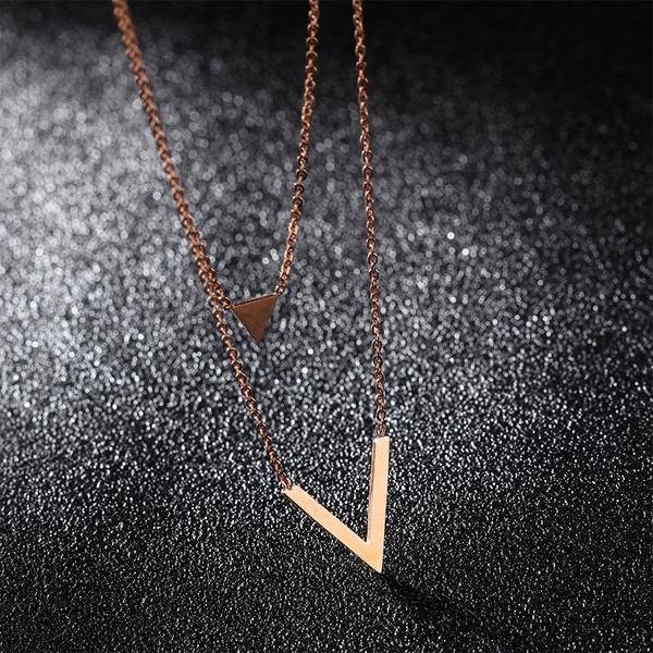 白鋼項鍊 女生項鍊 三角造型 鎖骨鍊 女友禮物 情人禮物 單件價【AKS1315】Z.MO鈦鋼屋