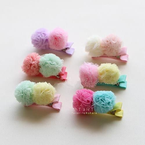 果凍色紗球髮夾
