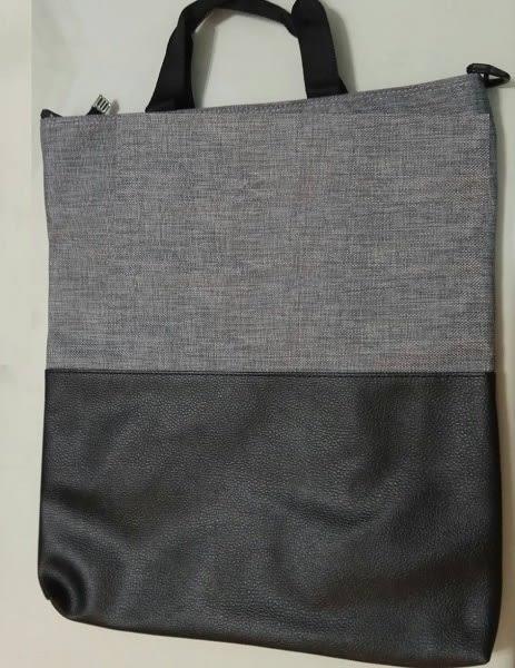 韓國進口手提袋側背袋兩用 (皮件+帆布拼接)