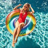 加厚 成人 彩虹 游泳圈 救生圈 浮圈 腋下圈 ☸mousika