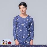 【WIWI】星辰米奇溫灸刷毛圓領發熱衣(湛海藍 男S-3XL)