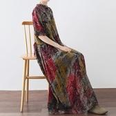 洋裝-長款寬版文藝復古樹木印花女連身裙73sm36【巴黎精品】