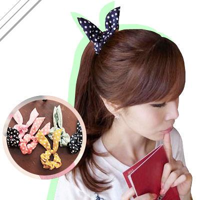 髮圈 韓劇同款超可愛兔耳朵造型軟鐵絲滑布髮圈【O302】☆雙兒網☆