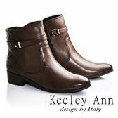★零碼出清★Keeley Ann歐美摩登~菱紋造型縫線真皮低跟短靴(咖啡色)