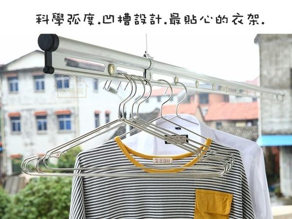 【居美麗】不鏽鋼衣架 實心衣架 42cm 32cm 晾衣架 凹槽 高品質不鏽鋼 成人/兒童衣架