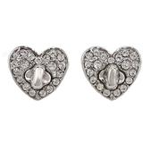 COACH 愛心水鑽針式耳環(銀色)