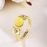 戒指 925純銀 琥珀-精緻百搭生日情人節禮物女開口戒73ga3【時尚巴黎】