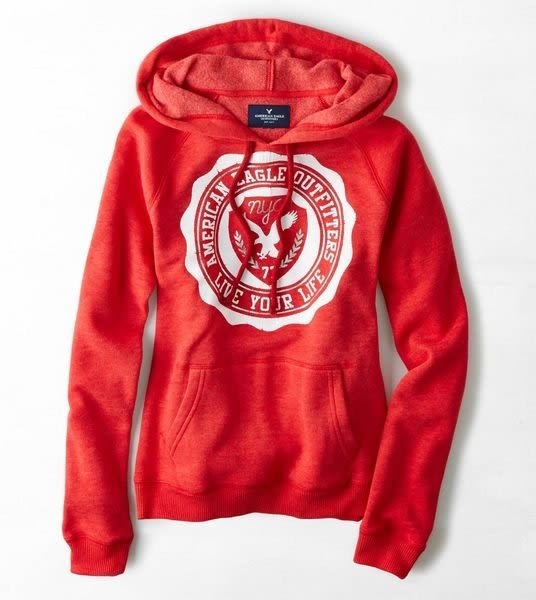 【BJ.GO】AMERICAN EAGLE_AEO Signature Graphic Hoodie 甜美老鷹連帽上衣現貨