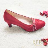 現貨 MIT小中大尺碼圓頭低跟鞋推薦 蘋果女神 水鑽真皮鞋墊舒適低跟鞋 21-26 EPRIS艾佩絲-蘋果紅