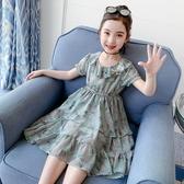女童連衣裙夏季新款洋氣童裝女孩碎花蛋糕裙子夏裝兒童雪紡裙