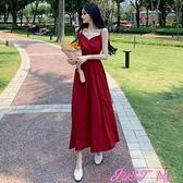 吊帶洋裝法式連身裙女夏裝2021年新款復古吊帶小黑裙高腰顯瘦A字中長裙子 JUST M