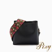 Pixy 波希米亞刺繡寬背帶斜背包 個性酷黑