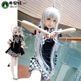 貓老師潛行吧奈亞子COS服動漫COSPLAY服裝女裝黑白格子女仆女傭裝