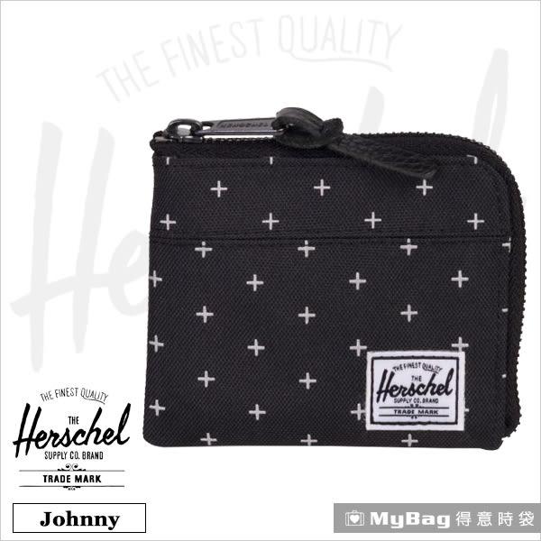 Herschel 皮夾 / 零錢包 黑色網格 經典拉鍊零錢包 Johnny-1577 MyBag得意時袋