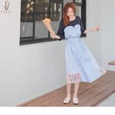 《DA7970-》甜美心型假兩件蕾絲條紋拼接高棉綁帶長洋裝 OB嚴選