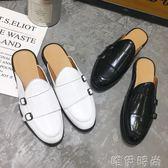 半拖鞋 夏季包頭半拖鞋男士復古潮拖尖頭皮鞋懶人豆豆鞋英倫社會鞋皮涼拖 唯伊時尚