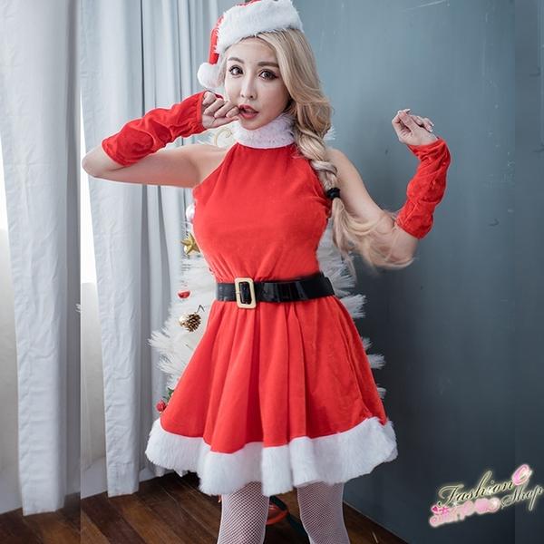 聖誕服 聖誕制服削肩洋裝聖誕服cosplay服裝跨年派對角色扮演服~流行E線F073