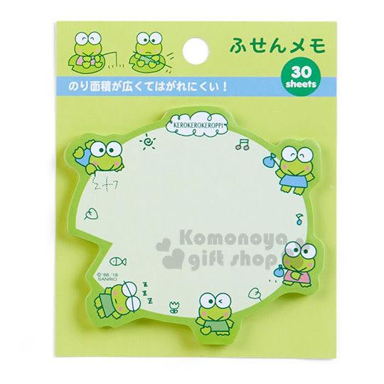 〔小禮堂〕大眼蛙 日製自黏便利貼《綠.葉子型.小雲朵》便條紙.單入.30張 4901610-07890