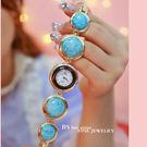 新款熱銷手錶高檔鏈錶滿鑽女錶天然石《小師妹》yw100