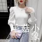 2020年秋季新款韓版圓領純色修身顯瘦泡泡袖打底衫t恤上衣女ins潮CL223【毛菇小象】