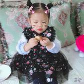 兒童公主圍裙女寶寶防水無袖吃飯衣幼兒園嬰兒背心式畫畫反穿罩衣 薔薇時尚