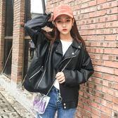皮衣女短款外套新款韓版顯瘦學生寬鬆pu皮夾克機車bf風     東川崎町