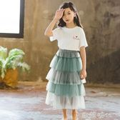 童裝夏裝女童紗裙半身裙春韓版兒童裙子潮蛋糕裙網紗長裙 ⊱歐韓時代⊰