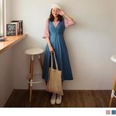 高含棉後腰鬆緊排釦V領無袖洋裝--適 XL~5L OrangeBear《DA7031》