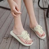 厚底鞋新款人字拖女夏季時尚防滑夾腳沙灘鞋平底外穿女士涼拖鞋海邊度假【免運】