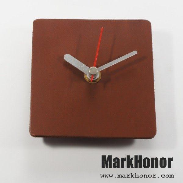 簡約風格-方型 100%真皮 皮革 桌鐘 靜音 時鐘 咖啡 10公分-Mark Honor