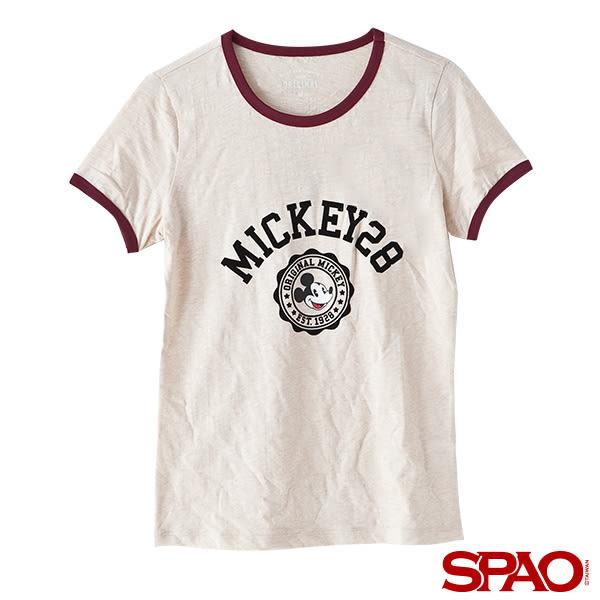 SPAO女款迪士尼聯名款米奇徽章LOGOT恤-共4色