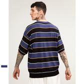 中袖T恤-針織條紋休閒百搭寬鬆男上衣73qw65【巴黎精品】