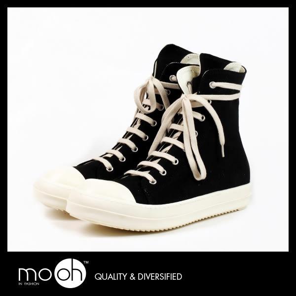 帆布鞋 高筒 厚底  歐美簡約個性黑白情侶款帆布鞋 mo.oh (歐美鞋款)