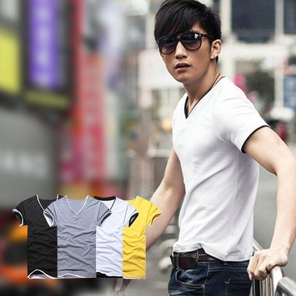 【ENNE】百搭純色假兩件短袖修身男士V領全棉T恤/白色(Q1091-W)