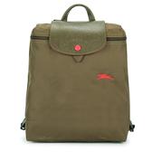 Longchamp Le Pliage刺繡LOGO折疊尼龍後背包(橄欖綠)480210-A23