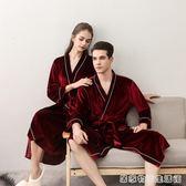 夏季和服情侶睡袍  女士中長款金絲絨四季浴袍  男士日式冰絲睡衣  居家物語