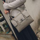 手提包-時尚大方經典編織紋真皮女側背包-2色73nh11[巴黎精品]