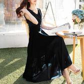 雪紡連身裙顯瘦夏季長裙中長款沙灘裙女5993#GT6F-653-A紅粉佳人